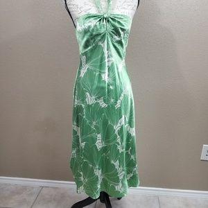Loft Green Silk Blend Halter Dress Size 6